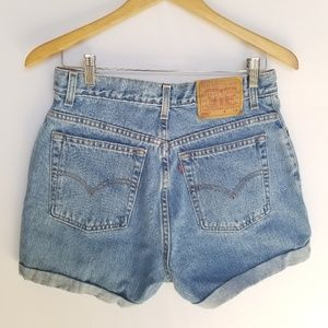 Levi's 550 High Rise Cuffed Denim Shorts